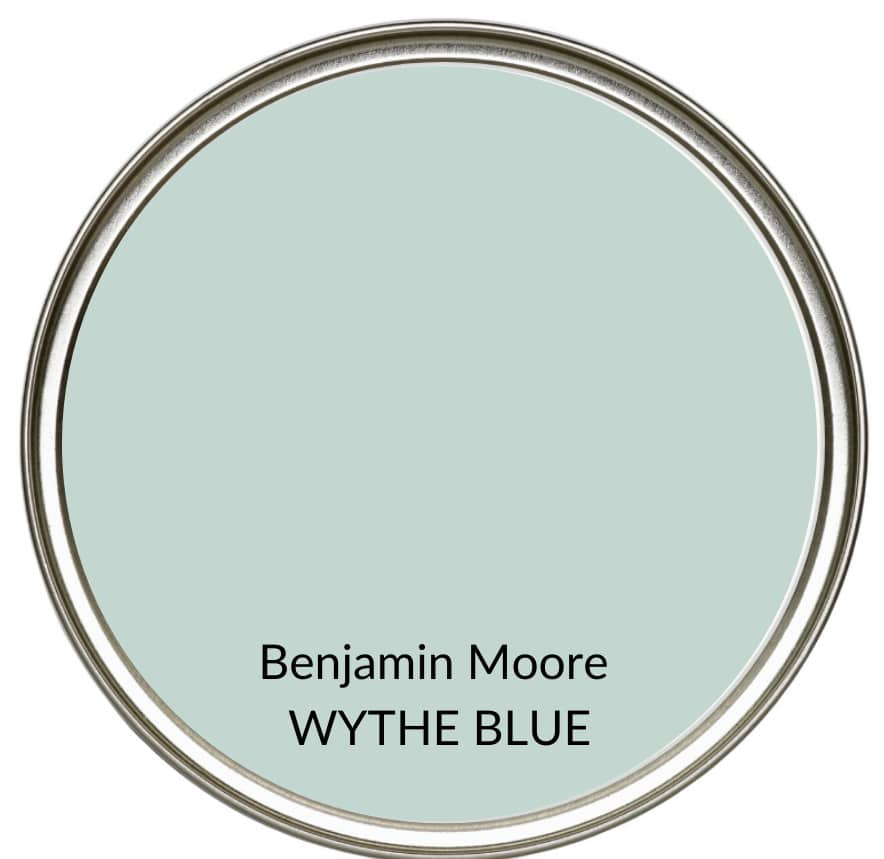 The best blue green gray blend paint colour, Benjamin Moore Wythe Blue. Kylie M Interiors Edesign, modern farmhouse color ideas