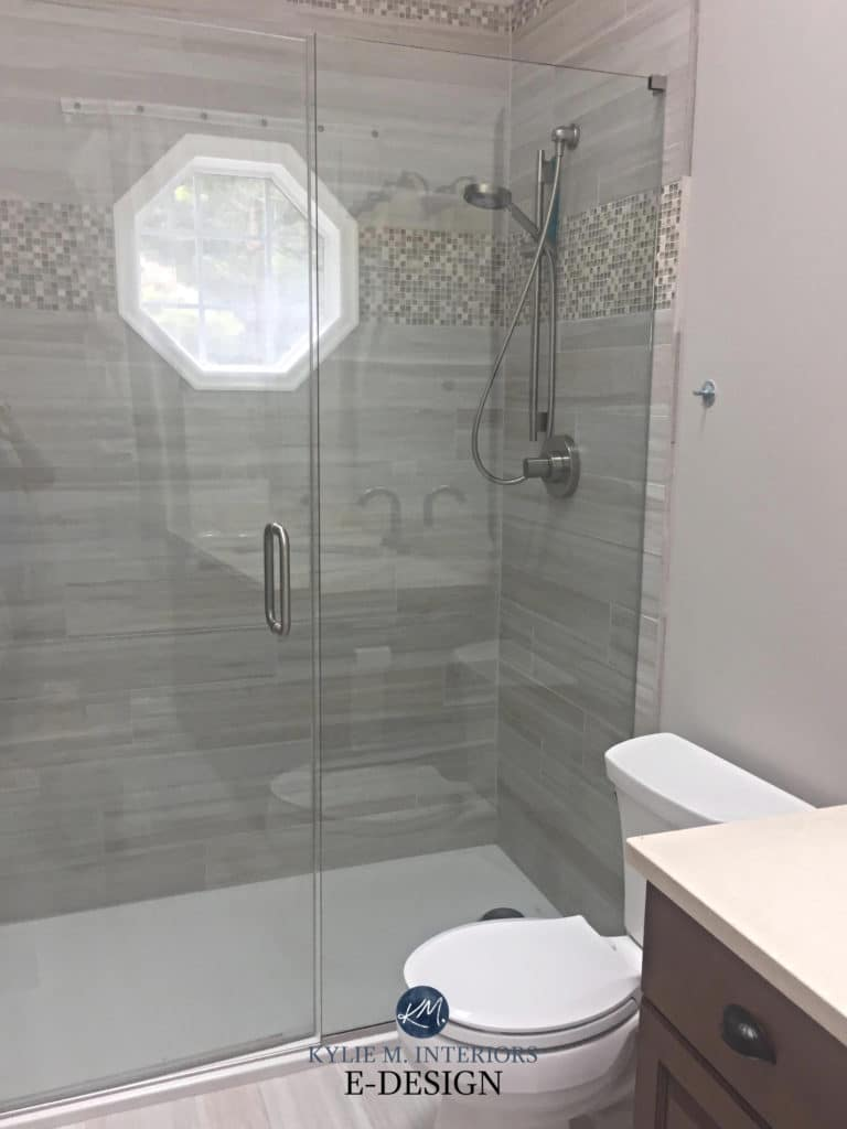 Agreeable Gray in bathroom with greige tile. KYlie M Interiors Edesign, online paint colour consultant. Client photo