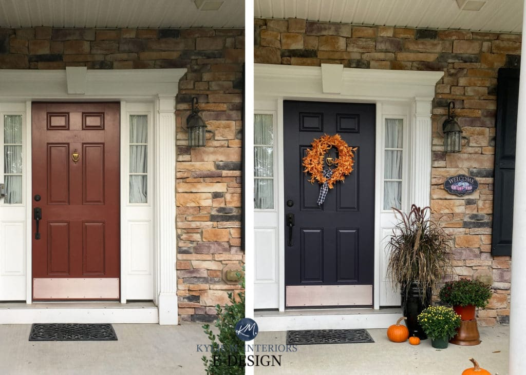 Before and after front door painted red rust to purple. Best paint colour with stone. Kylie M Interiors Edesign, online paint color consulting. Sherwin Williams Darkroom