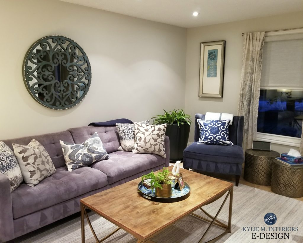 Benjamin Moore Classic Gray in living room wit purple and blue furniture accents. Kylie M Interiors Edesign, client photo