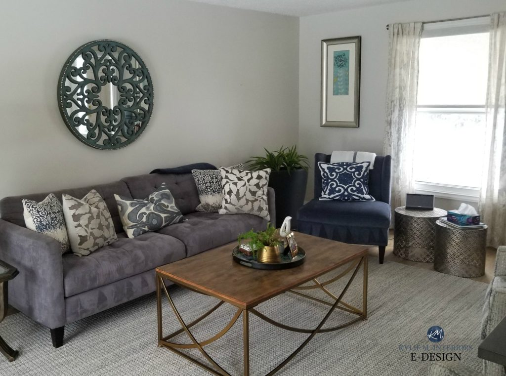 Benjamin Moore Classic Gray, living room with no light bulbs on and only natural light. Kylie M INteriors Edesign, online paint colour consultant. Client photo