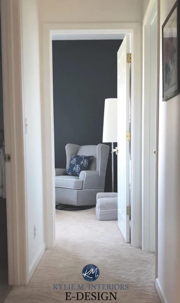 Chantilly Lace and feature wall in Hale Navy Benjamin Moore in boys nursery bedroom. Kylie M Interiors paint colour reviews online paint consulting blog