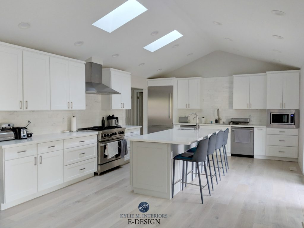 Kylie M Interiors Edesign, Classic Gray, Sherwin Williams Pure White cabinets, Mindful Gray island and white oak floor with wash