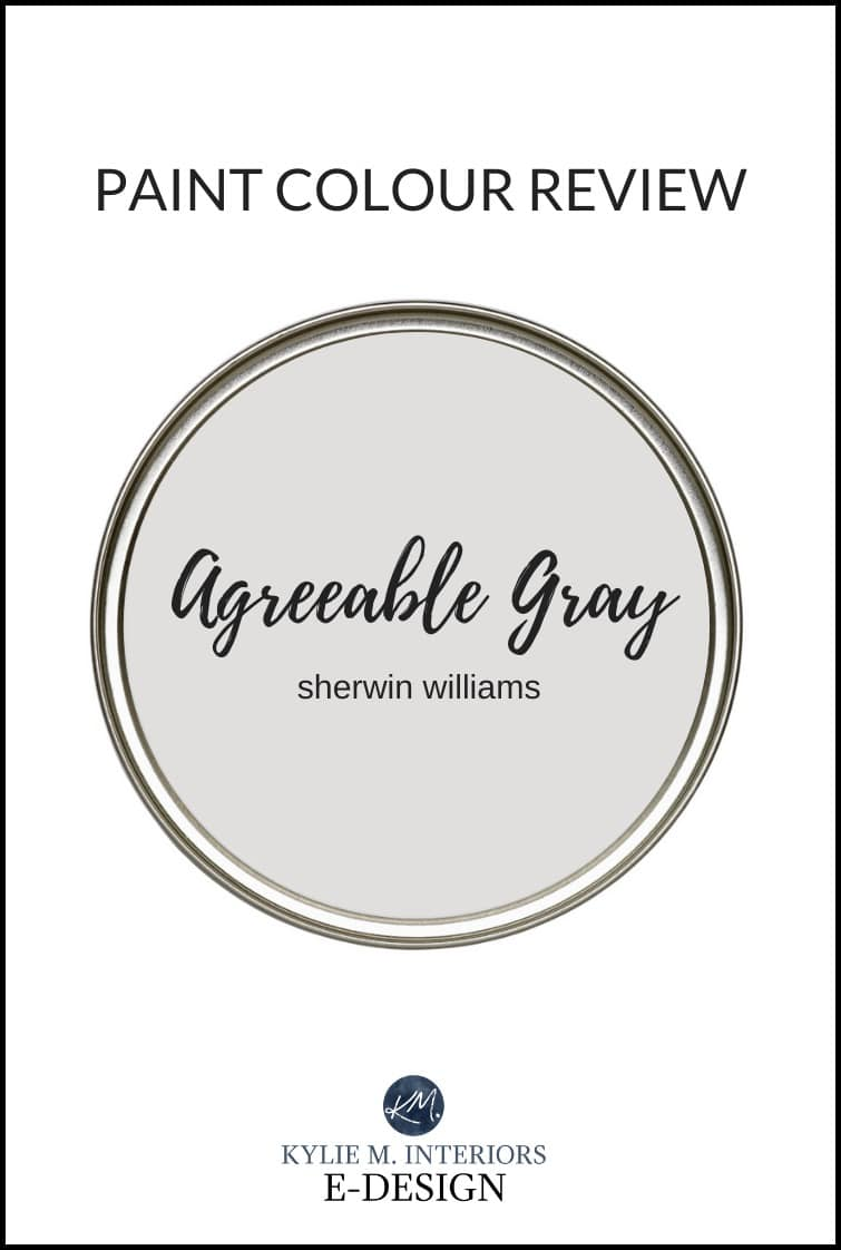 Paint color review of popular greige paint colour, Sherwin Williams Agreeable gray, one of the best warm grays. Kylie M Interiors Edesign, online virtual paint colour consulting