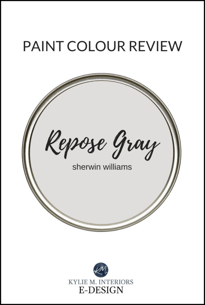 Paint colour review of Sherwin Williams Repose Gray, best warm gray paint color. Kylie M Interiors Edesign, online paint colour advice blogger. lrv, undertones and more!