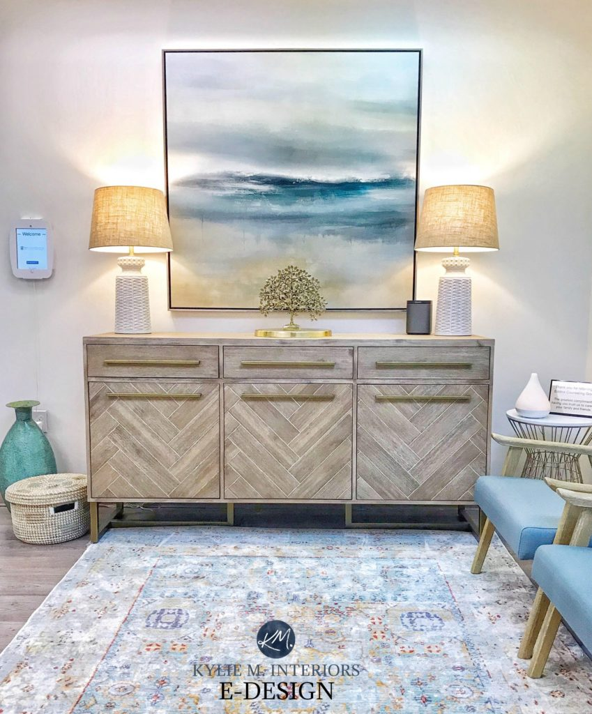 Sherwin Williams Alabaster best warm white paint colour. Client waiting room. Beach coastal colour. Client photo. Kylie M INteriors Edesign, online paint color consulting