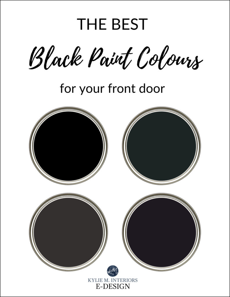 The best black front door paint colours exterior. Kylie M Interiors Edesign, online paint colour consulting. Benjamin and Sherwin