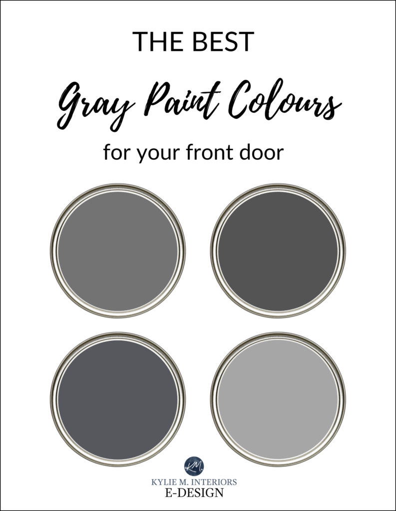 The best gray, charcoal front door paint colours, exterior. Kylie M Interiors edesign, Sherwin and Benjamin paint colours. Virtual consulting