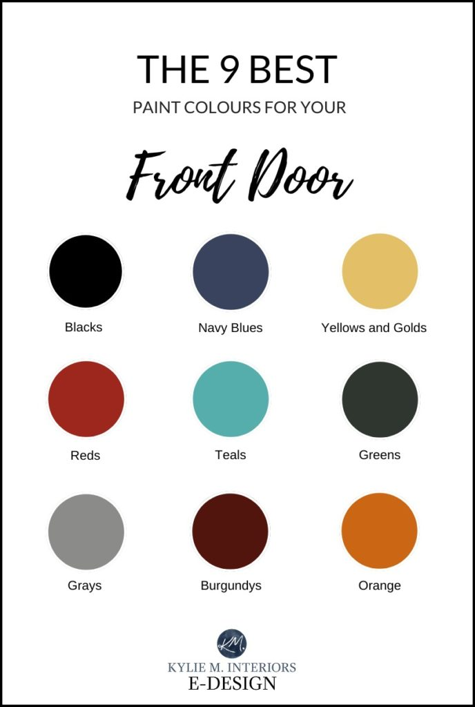 The best paint colours for front door and curb appeal on the exterior. Kylie M Interiors Edesign, navy blue, black, gray, green and more