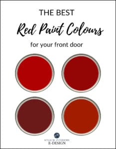 The best red, burgundy and brick paint colors for front door. Kylie M Interiors Edesign, online paint colour consulting blog