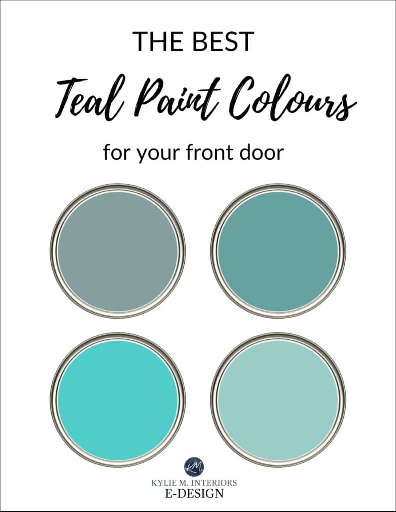 The best teal front door paint colours, exterior. Kylie M Interiors Edesign, onnline paint colour advice. Sherwin or Benjamin colors