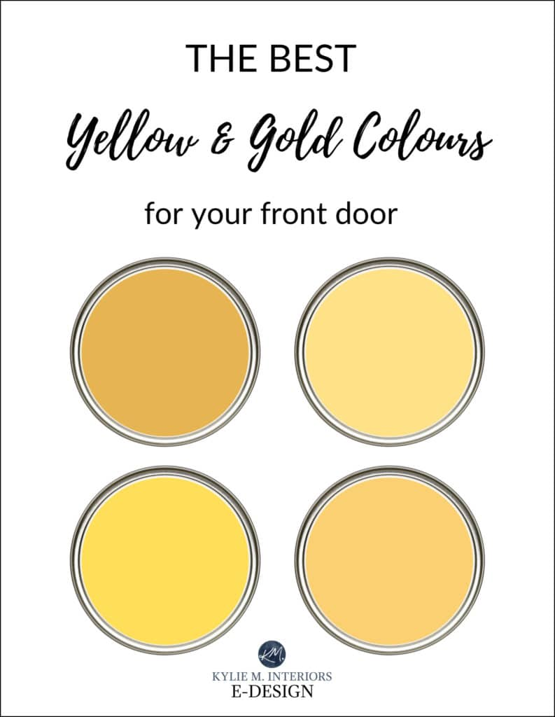 The best yellow gold paint colours for the front door exterior. Kylie M Interiors Edesign, online virtual paint color consulting services