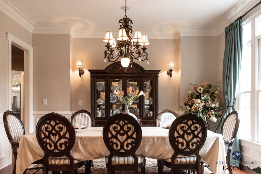Formal traditional style dining room with Sherwin Williams Canvas Tan walls. Kylie M Interiors Edesign, online paint color consulting