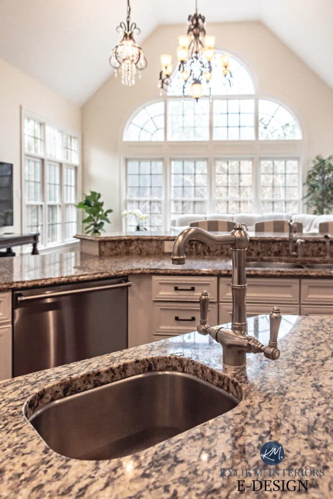 Granite kitchen countertop with painted warm white maple cabinets. Kylie M Interiors Edesign, online paint color consultant