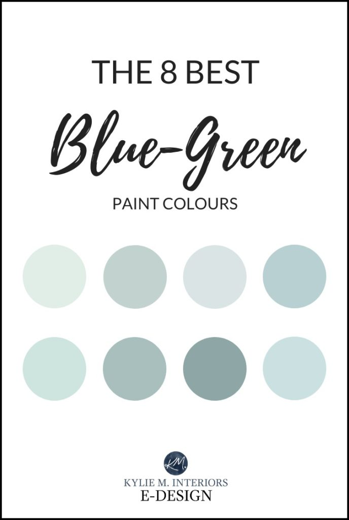 The best most popular blue green blend paint colours. Teal, turquoise but with gray. Kylie M Interiors Edesign, Benjamin Moore and Sherwin Williams paint colour advice