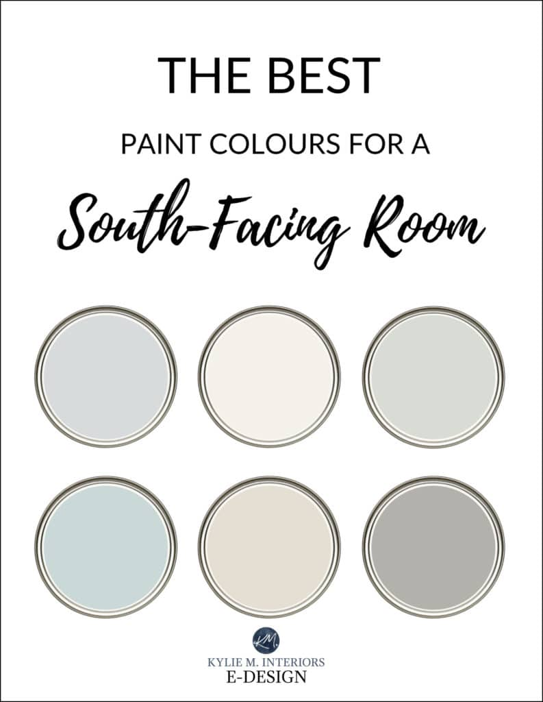 The best paint colours for a southern exposure, south facing room. Benjamin and Sherwin. Kylie M Interiors Edesign, online paint color consulting blog