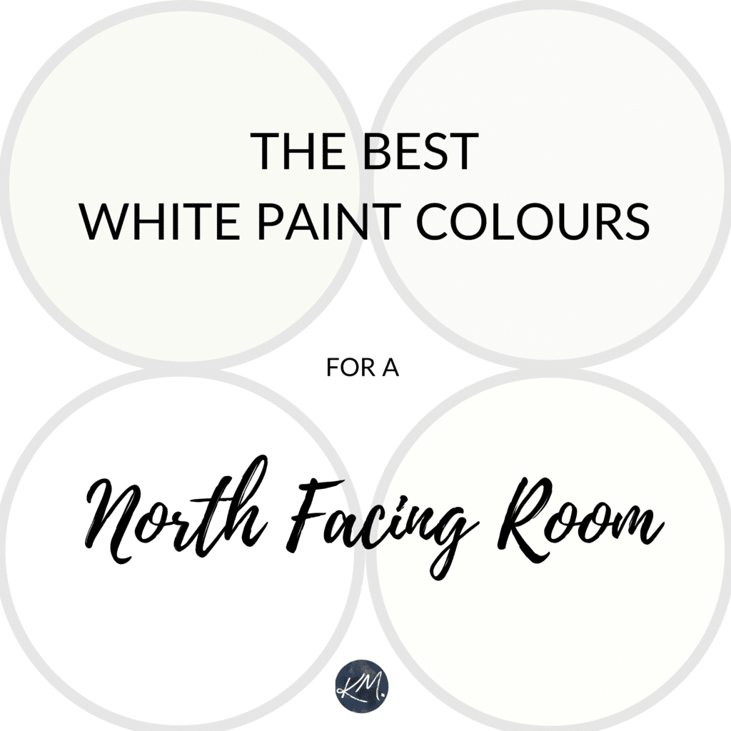 The best white paint colours for a north facing room or northern exposure. Kylie M Interiors Edesign, virtual paint color consultant, Benjamin or Sherwin Williams