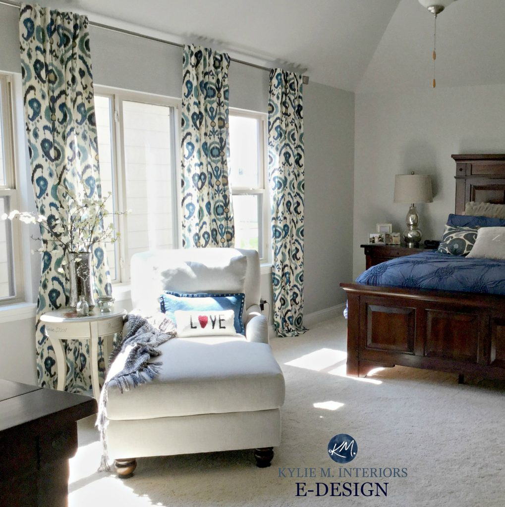 Sherwin Williams Repose Gray, best gray paint colour, bedroom with beige carpet and patterned drapes. Kylie M INteriors Edesign, online paint color consultant