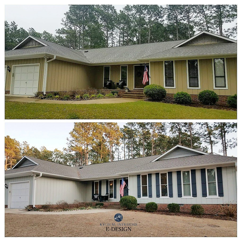 Before and after red brick ranch with Sensible Hue siding, white trim and Cyberspace shutters and front door. Kylie M INteriors Edesign, online paint color consultant
