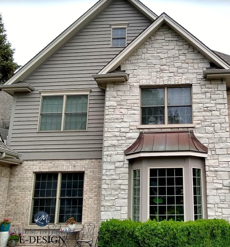 Exterior stone and brick beige, greige and gray, beige windows with Benjamin Moore Metropolis, Smokey Taupe. Kylie M INteriors Edesign, online paint colour consultant