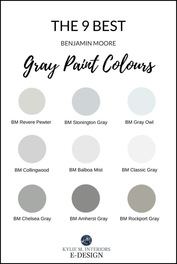The best gray, charcoal and warm grey paint colours from Benjamin Moore. Kylie M Interiors Edesign, online virtual paint colour expert advice and diy decor blogger