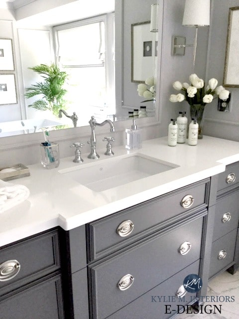 Bathroom vanity, Benjamin Moore City Shadow, white quartz countertop. Gray walls. Kylie M Interiors Edesign, online paint colour consultant, virtual design blog