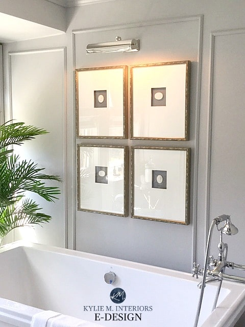Bathroom with painted wall mouldings, Sherwin Williams Zircon light gray with purple undertone. Kylie M INteriors Edesign, online paint colour consulting