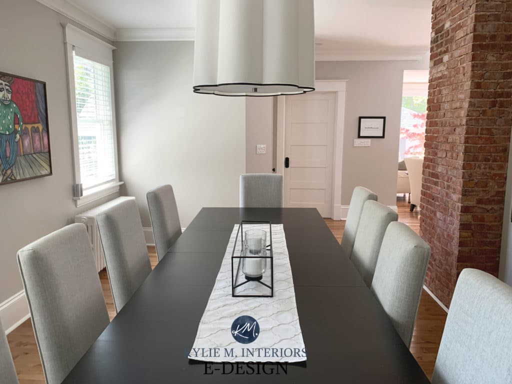 Benjamin Moore Collingwood, popular warm gray paint color. Dining room dark wood furniture, oak floor. Kylie M Interiors edesign, online paint consulting