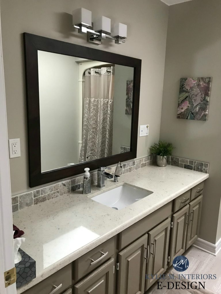Benjamin Moore Kingsport Gray painted oak cabinets with Revere Pewter walls in bathroom with almond bone fixtures. Kylie M INteriors Edesign, online paint color consulting. Client photo