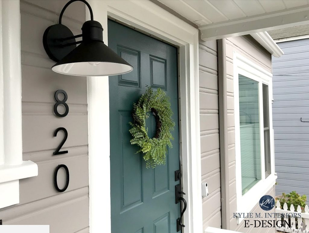 Exterior front door painted Sherwin Williams Still Water, Pure White and Polished Concrete, mid century house numbers. Kylie M Interiors Edesign, online paint colour consulting blog