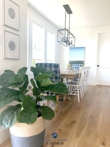 Farmhouse style dining room, white oak floors, Pure White walls, spindle back white chairs Wayfair and Pier 1. Kylie M Interiors Edesign, online paint colour consulting