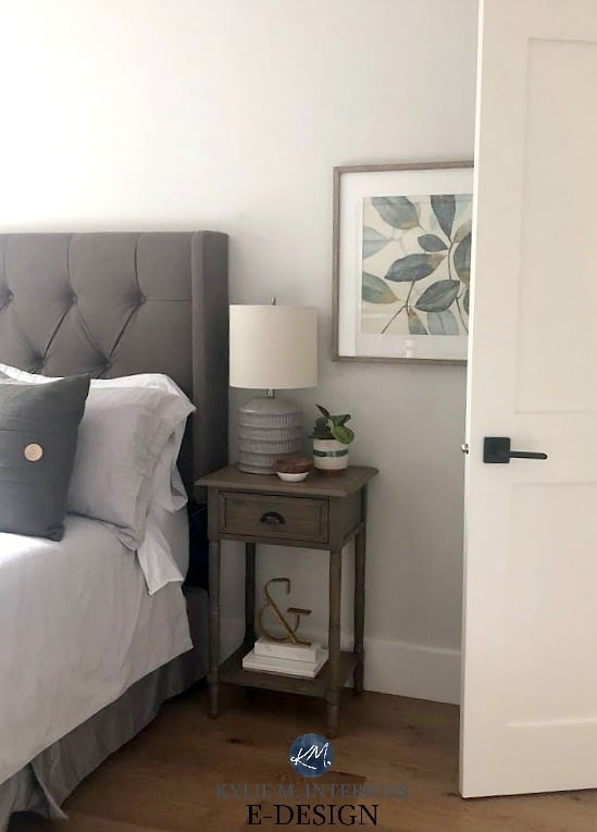 Guest bedroom in neutral paint colour Benjamin Moore Classic Gray with furniture and accents with green undertones. Kylie M Interiors Edesign