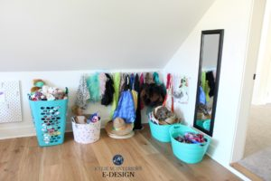 Kids dressup station in playroom with Ikea products. Kylie M Interiors Edesign, online paint colour and decor advice blog