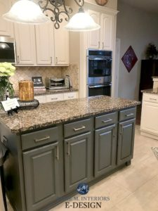 Kylie M Interiors Edesign, painted oak cabinets, dark green gray island off-white cabinets. Sherwin Williams. Travertine backsplash and green, orange, beige granite countertop. Kilim Beige