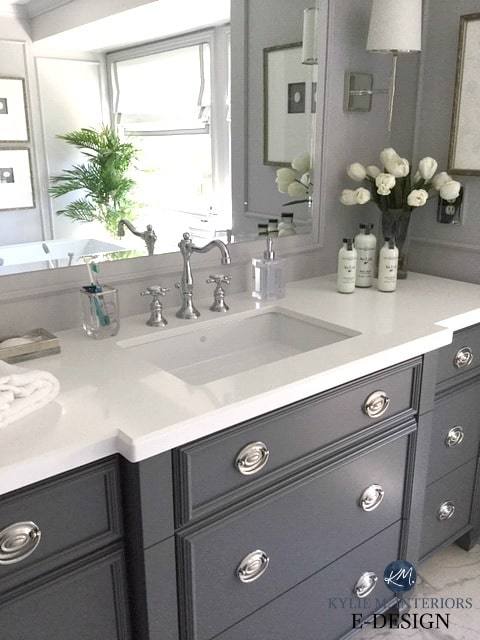 Kylie M Interiors Edesign. Bathroom vanity painted a darker gray blue, Benjamin Moore City Shadow, Sherwin Zircon on the walls. Online paint and decor advice blog