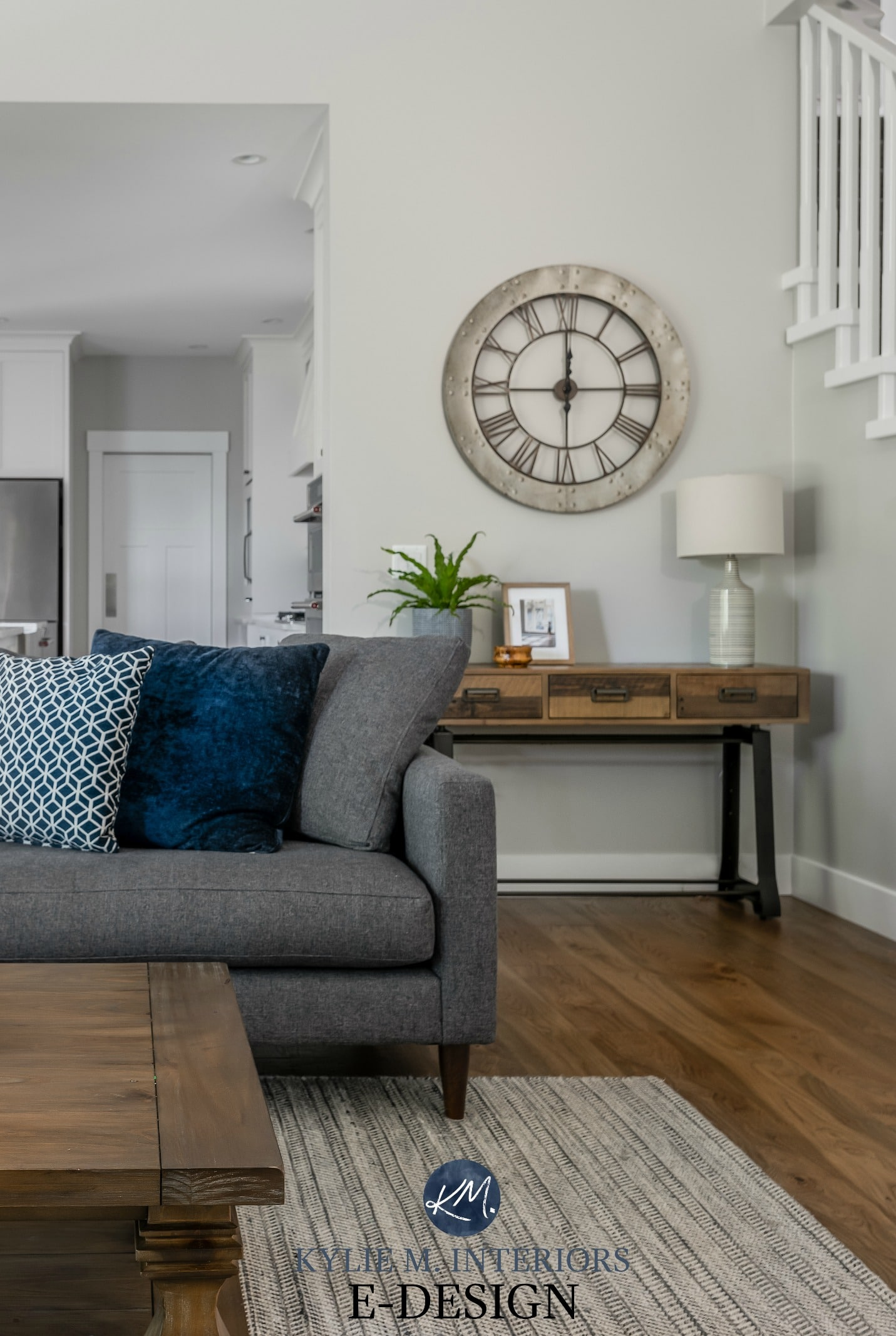 living room with gray sectional stonington gray paint