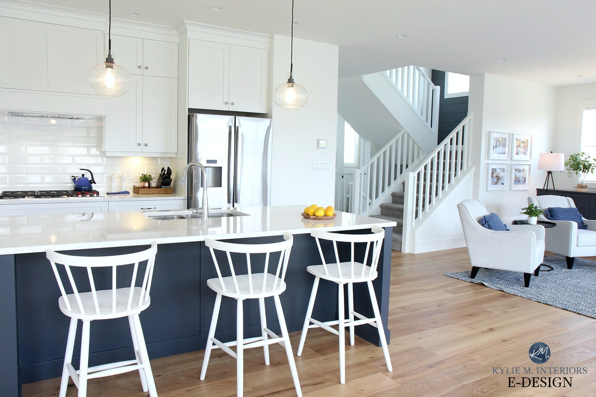 Sw Pure White Walls And Kitchen Cabinets Navy Blue Island