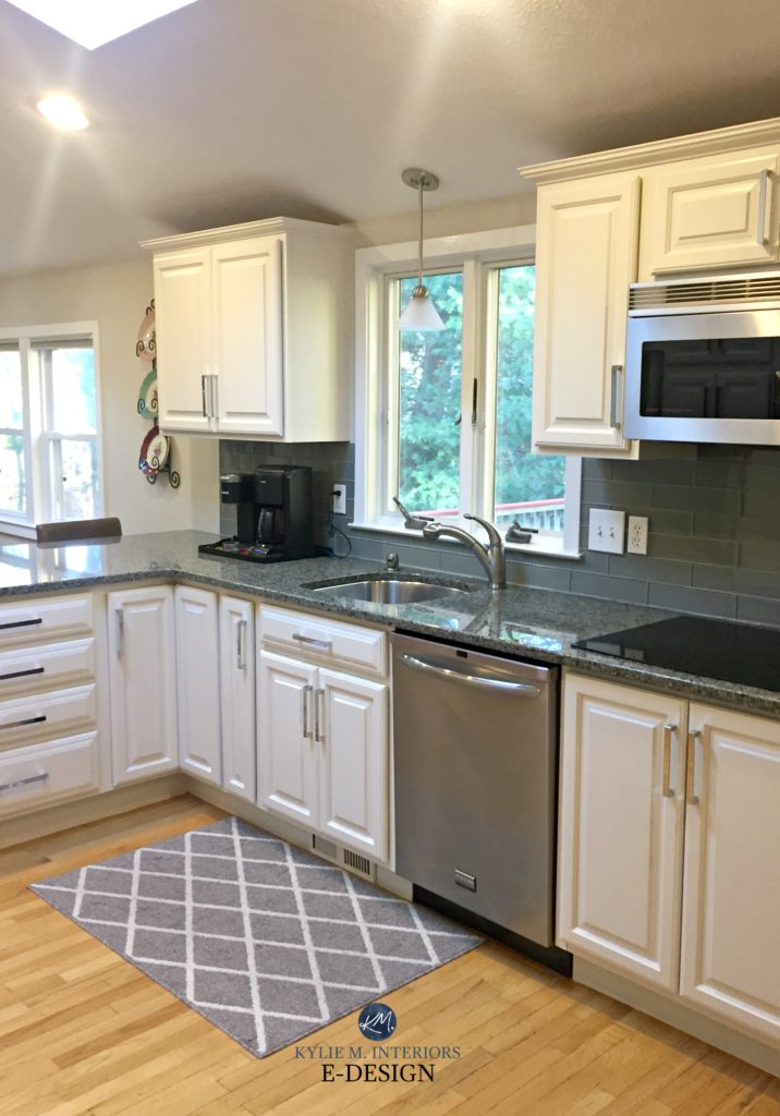 Sherwin Williams White Duck painted maple cabinets and green undertone granite with glass backsplash. Edgecomb Gray walls. Kylie M interiors Edesign