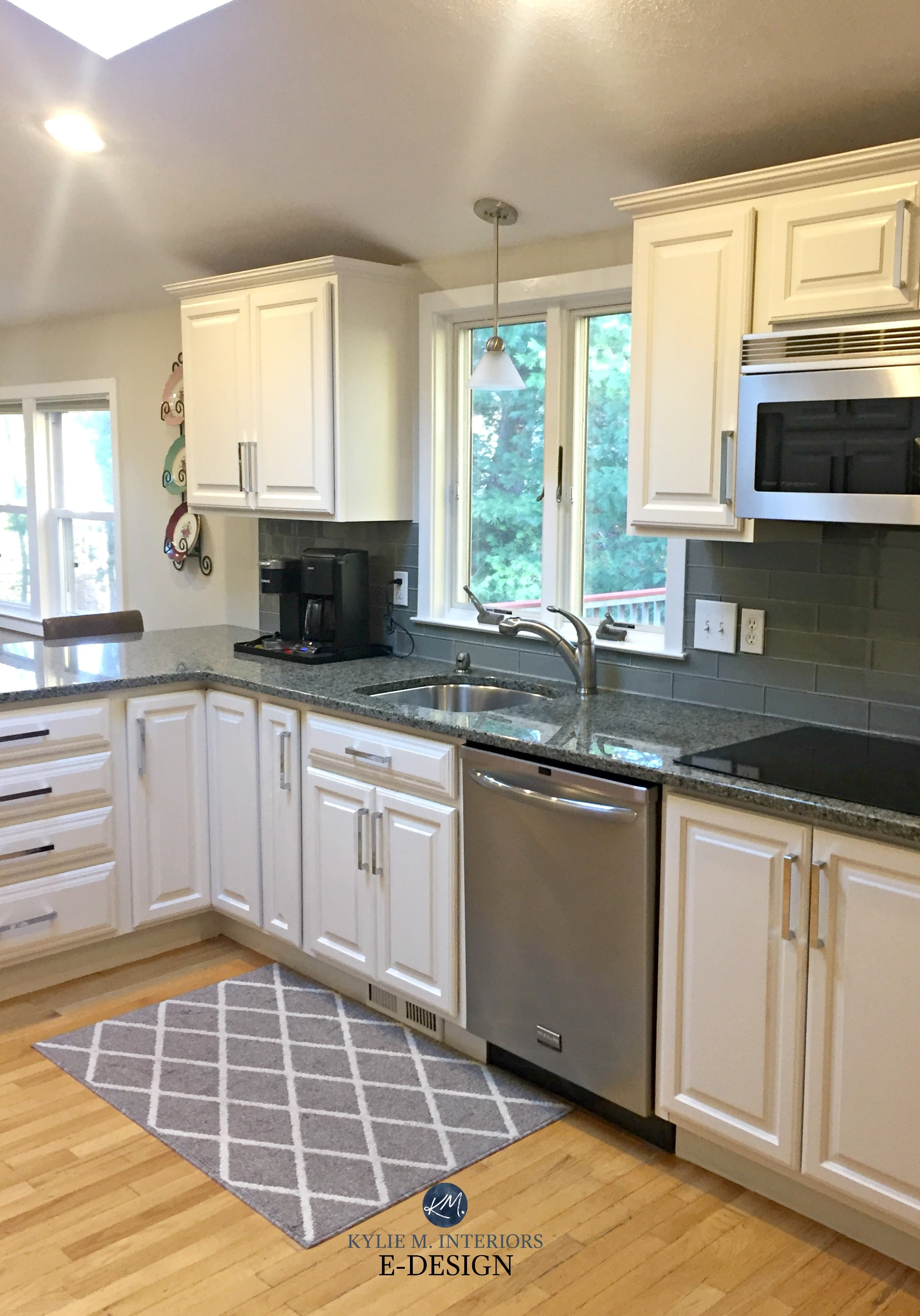 Sherwin Williams White Duck painted maple cabinets and ... on Maple Cabinets With Backsplash  id=73116