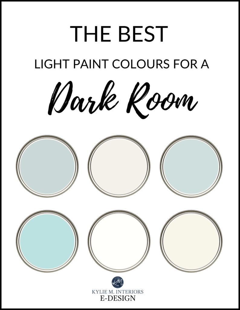 The best light paint colours for dark room, basement, family room. Benjamin and Sherwin. Kylie M Interiors Edesign, online paint colour consulting and advice blog