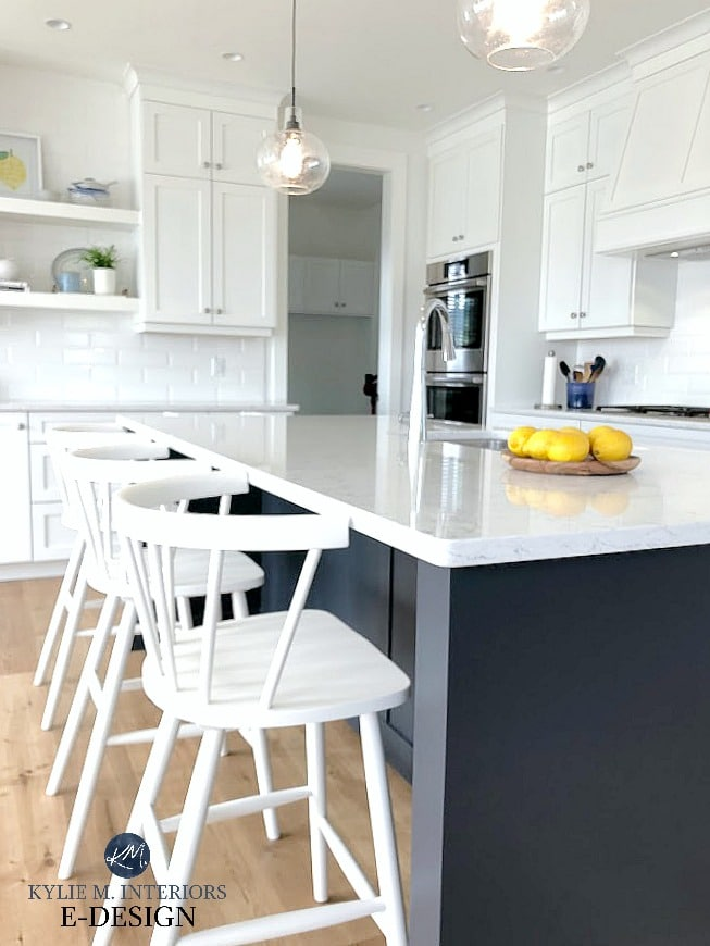 White spindle back counter bar stools with Cyberspace navy blue island and Pure White kitchen cabinets. Kylie M Interiors Edesign, online paint colour advice blog