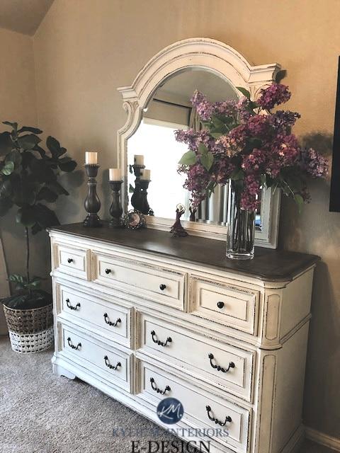 Best greige color, Benjamin Moore Pashmina in bedroom. Kylie M Interiors edesign, online paint colour advice