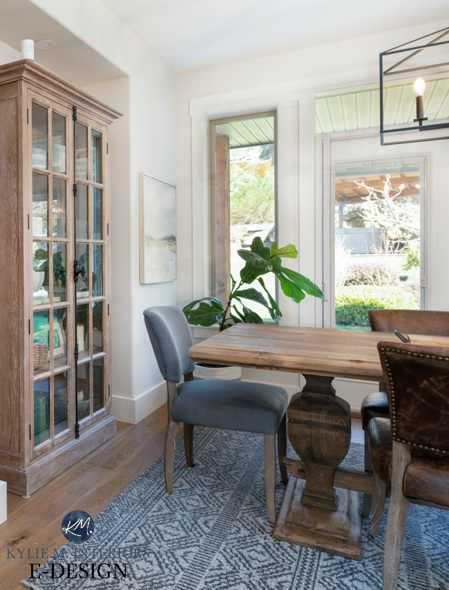 Dining room, modern farmhouse style furniture, white oak flooring, trestle style table, lightened Edgecomb Gray walls. Kylie M Interiors Edesign, online paint color consulting