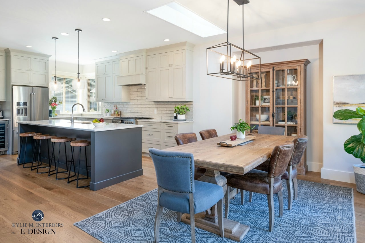 Open layout kitchen and dining room, farmhouse modern country style table. Greige and warm gray. Kylie M Interiors Edesign