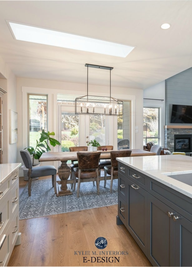 Open layout kitchen, dining room, living room, warm grays and greige. Kylie M Interiors Edesign, Brittanica Warm quartz countertop, shiplap (2)