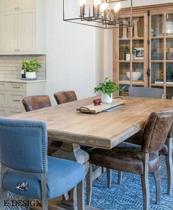 Modern farmhouse open layout kitchen and dining room. Edgecomb Gray paint colour, wood table, cabinets, black chandelier. Kylie M INteriors Edesign, online paint color consultant, advice blog
