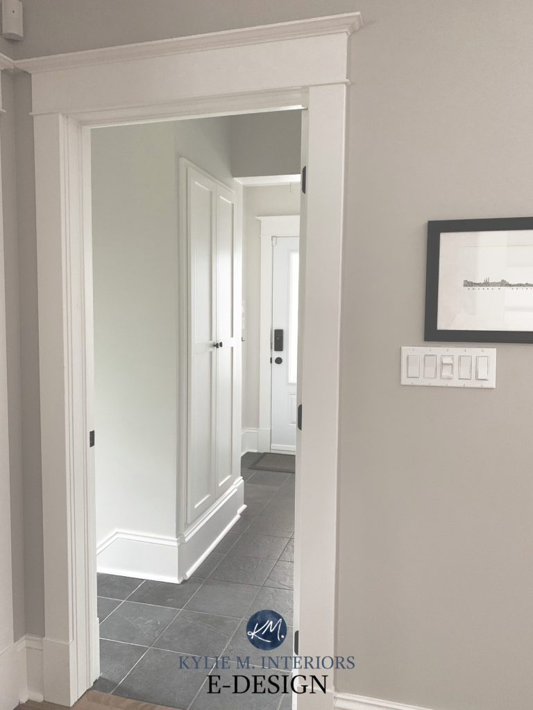 Popular warm white paint colour. Benjamin Moore Simply White , Collingwood gray walls, oak flooring, Kylie M Interiors Edesign,