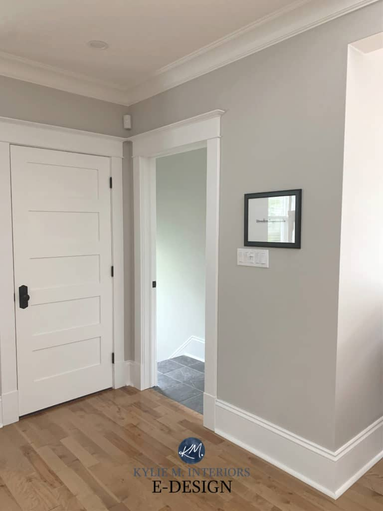 Benjamin Moore Simply White , Collingwood gray walls, oak flooring, Kylie M Interiors Edesign, (3)