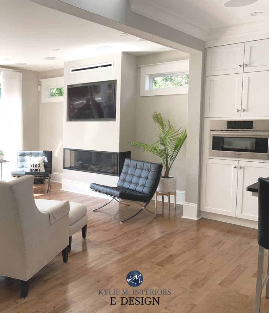 Benjamin Moore Simply White cabinets , Collingwood gray walls, oak flooring, Kylie M Interiors Edesign