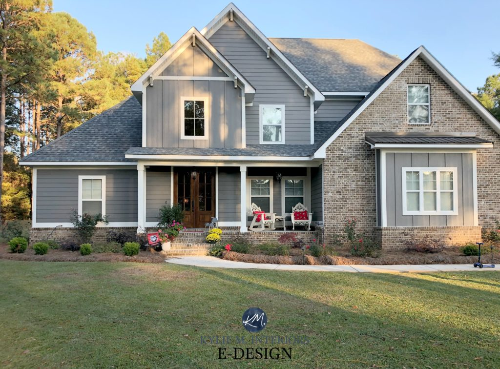 Exterior, Sherwin Williams Gauntlet Gray, gray roof and gables. Wood shutters minwax, brown brick, white trim. Kylie M Interiors Edesign, online paint color consulting
